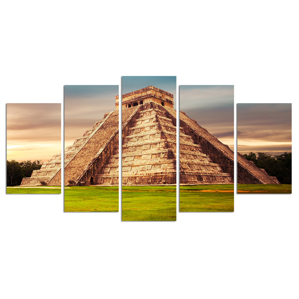 5 Piece Wall Art Canvas Prints Kukulkan Pyramid in Chichen Itza Landscape Pictures for Home Decor