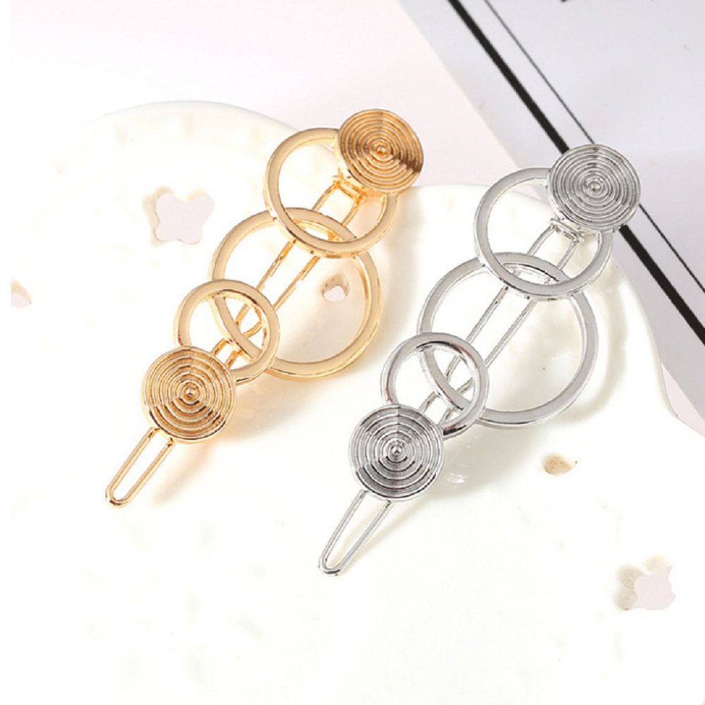 1 Pcs Fashion Hollow metal Hairpin golden silver Geometry 3- ring  Shape Women Hair Clips Barrettes Hair Styling Accessories