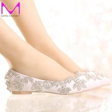 2016 White Satin Diamond Wedding Shoes Flat Heel Women Rhinestone Bride Shoes Handmade Fashion Comfortable Formal Dress Shoes