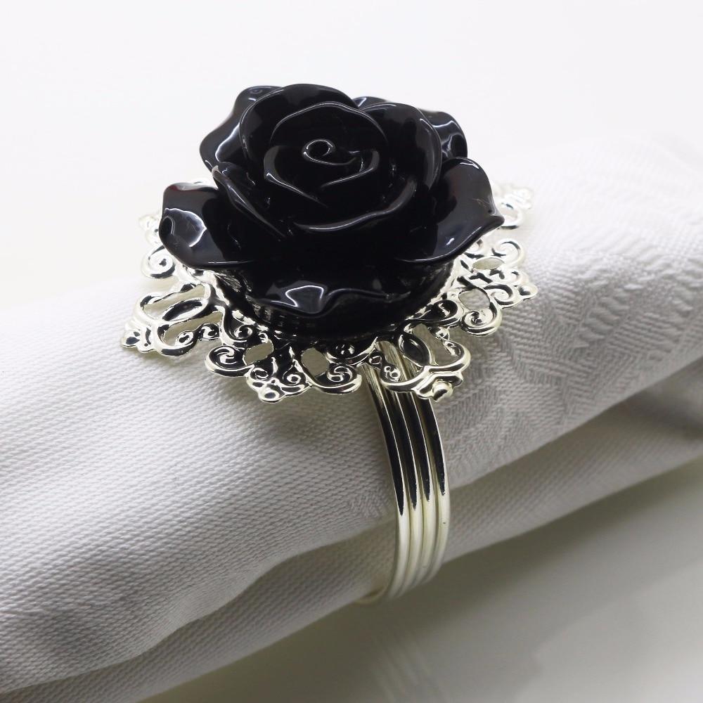 Новый 6 шт./10 шт. Черная смола розовое кольцо для салфеток партии развлекать свадебные салфетки ткань декоративная вычет стол для торжеств у...
