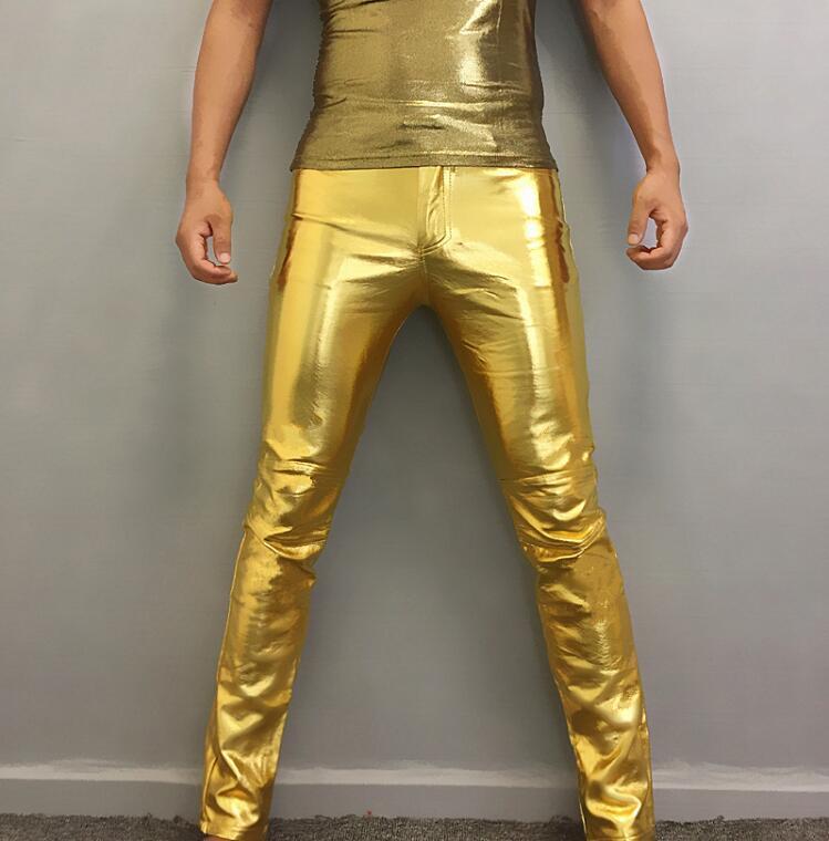 Nouveau pantalon en cuir homme mince hommes coréen mince marée moto pantalon hommes mode or argent pantalon discothèque personnalité Costume