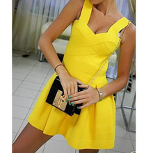 2014 new love girl fashion strap bodycon fashion party celebrity bandage puff leisure mini dress multicolor