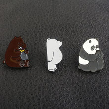 SG 2018 Hot Anime We Bare Bears Brooches Pins Cute Grizzly Panda Ice Bear Metal Enamel Badge Pins Women Men Shirt Coat Jewely(China)