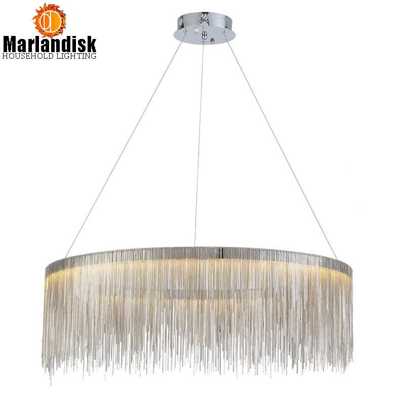 Modern Post Modern Round Led Pendant Light Aluminum Chain Lamp Nordic Bedroom Living Room Restaurant Villa Art Lighting Fixture