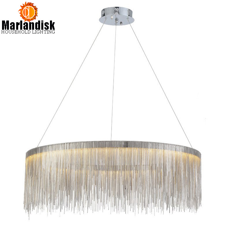 Modern Post Modern Round Led Pendant Light Aluminum Chain Lamp Nordic Bedroom Living Room Restaurant Villa Art Lighting Fixture