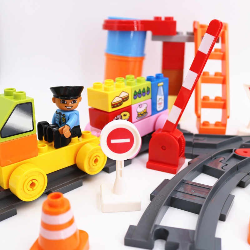 Train Building Blocks Busy transport track site Parts Accessories Christmas Educational Toys For Children