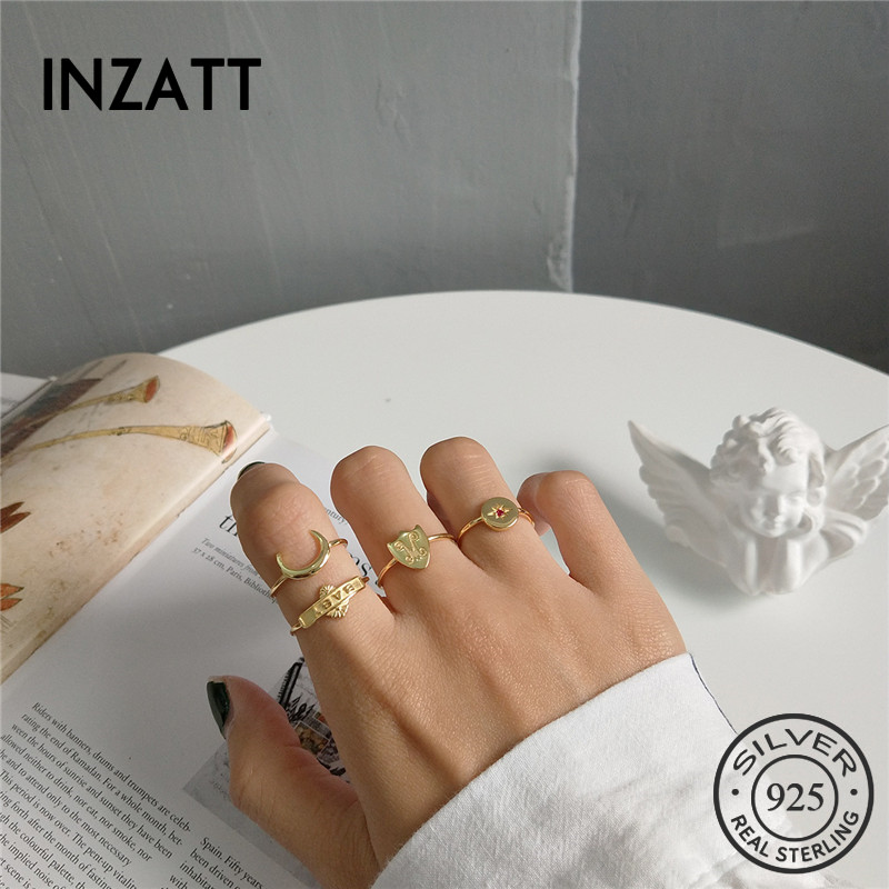 INZATT 100% 925 Sterling Silver Moon Baby Star Shield Personality Openwork Ring For Fashion Women Ring 2018 Fine Jewelry Gift