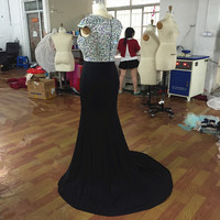 Sexy Black Long Mermaid Prom Dresses 2017 Robe de Soiree Full Crystals Beaded Corset Formal Evening Dress for party Gowns jersey