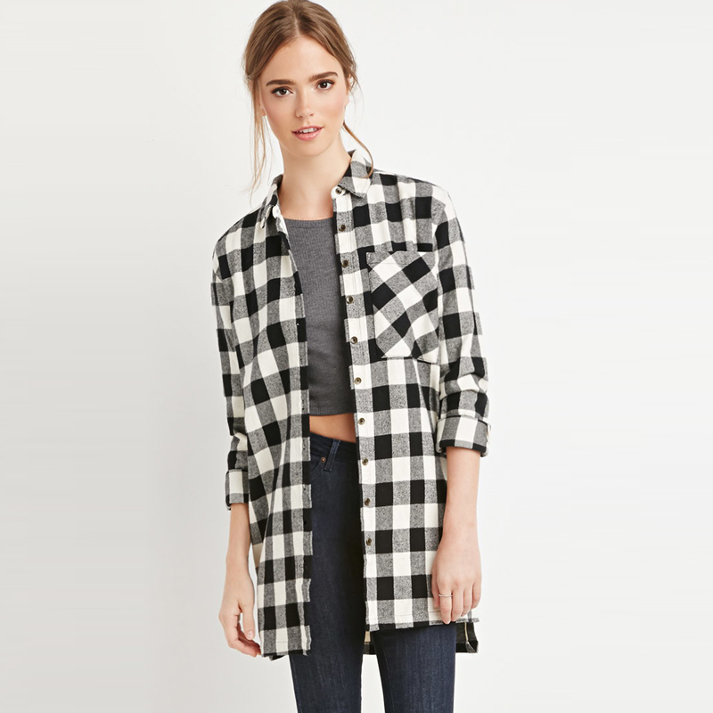 ac2bb191ef0507 Hot Sale Women Casual Plaid Blouse OL Blouses Women Dip Hem Side Slit Shirt  Long Sleeve Plus Size Women Clothing-in Blouses & Shirts from Women's  Clothing ...