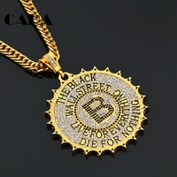 CARA New White Crystals Iced Out Bling Bling Mens Necklace Gold Color Zinc Alloy Hip Hop