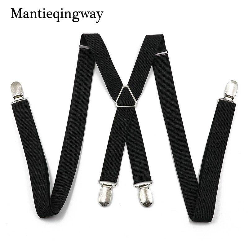 Mantieqingway Solid Color Suspenders for Men Adjustable Suspender Braces for Women T-shirt Strap Wedding Strap Unisex Party Belt