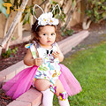 TWINSBELLA Baby Girl Romper Clothes Cute Cartoon Rabbits Pattern Baby Girl Dresses Mesh Toddler Clothing Baby Easter Costume