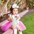 Twinsbella menina romper do bebê roupas bonito dos desenhos animados padrão coelhos vestidos da menina do bebê de malha criança clothing easter traje do bebê