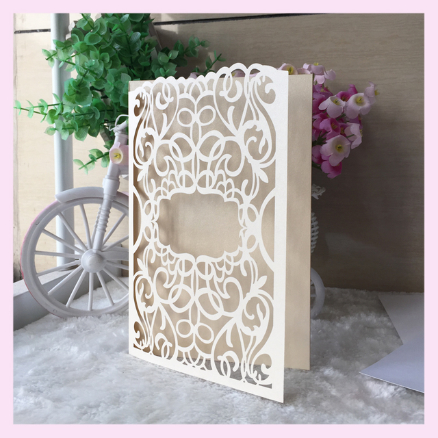 12pcslot producer laser cut wedding cards elegant black unique