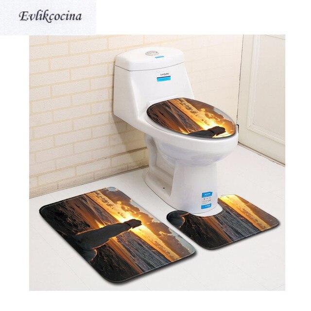 Free Shipping 3pcs Puppy Watching Sunset Banyo Bathroom Carpet Toilet Bath  Mat Set Non Slip Tapis