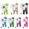 2016 New cotton children cartoon baby boys girls sets clothes 3pcs(Long-sleeved Romper+hat+pants)children clothing