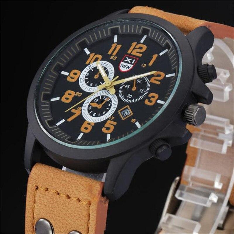 1a5412ea7872 Moda de Nueva llegada de la fecha de los hombres clásicos relojes correa de  cuero reloj de cuarzo Militar FHD marca al por mayor