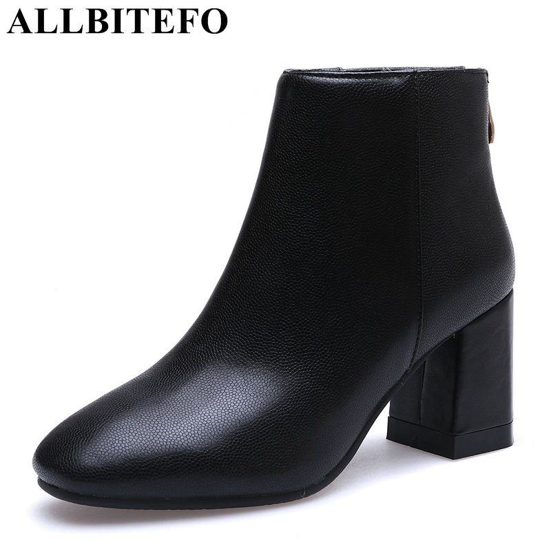 ALLBITEFO thick heel genuine leather square toe women boots medium heel Martin boots ladies shoes girls boots bota de neve 300w solar system complete kit 3pcs 100w photovoltaic pv solar panel system solar module for rv boat car home solar system