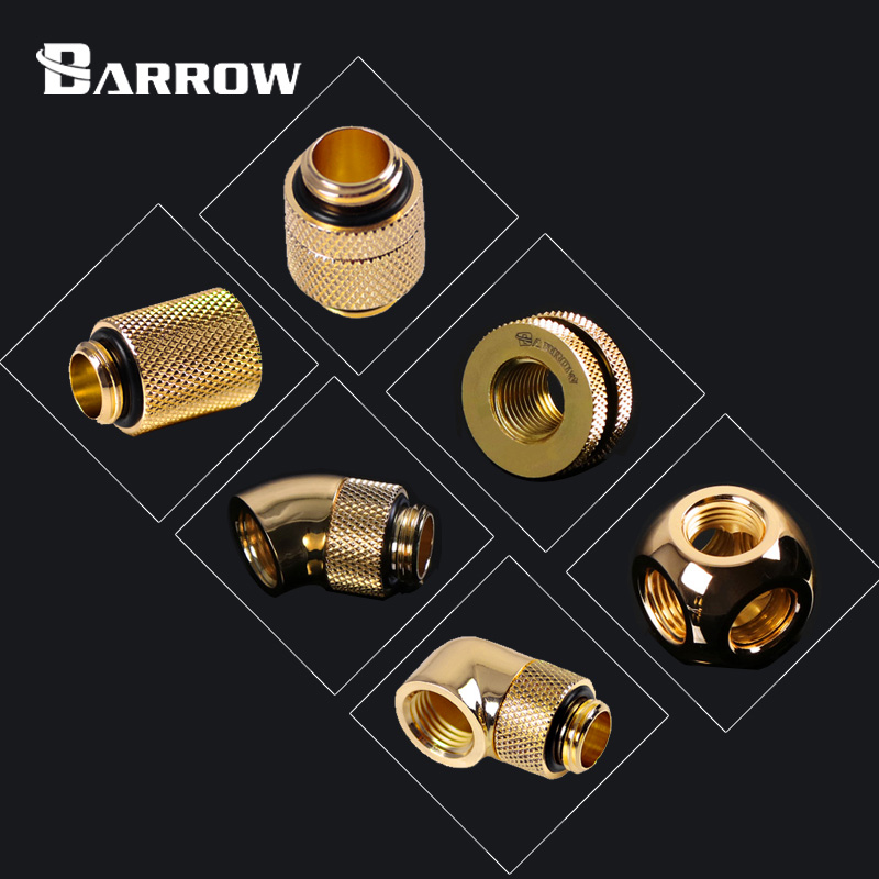 BARROW Gold Version Metal Fitting Computer Connector Use For Water Cooling System Extend Fitting 45-90 Angle Cable Adapter