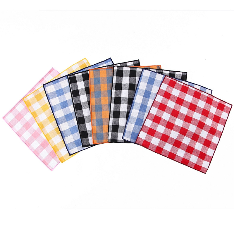 Plaid Printed Men Handkerchief 25*25cm Hankies Polyester Hanky For Male Wedding Business Pocket Square Chest Towel Accessory