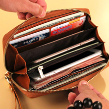 Genuine Leather Wallet for Women Zip Around Female