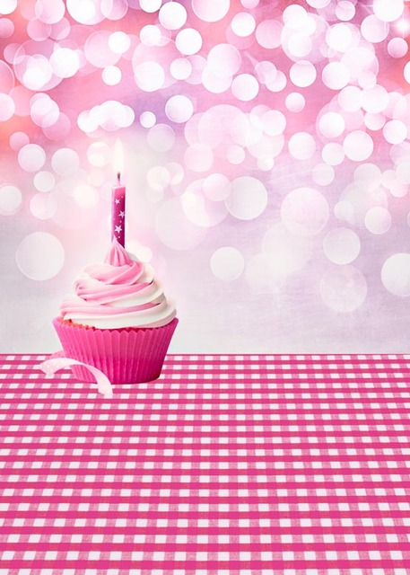Washable Wrinkle Free Pink Birthday Party Photography Backdrops For Children Portrait Photo Studio Backgrounds S