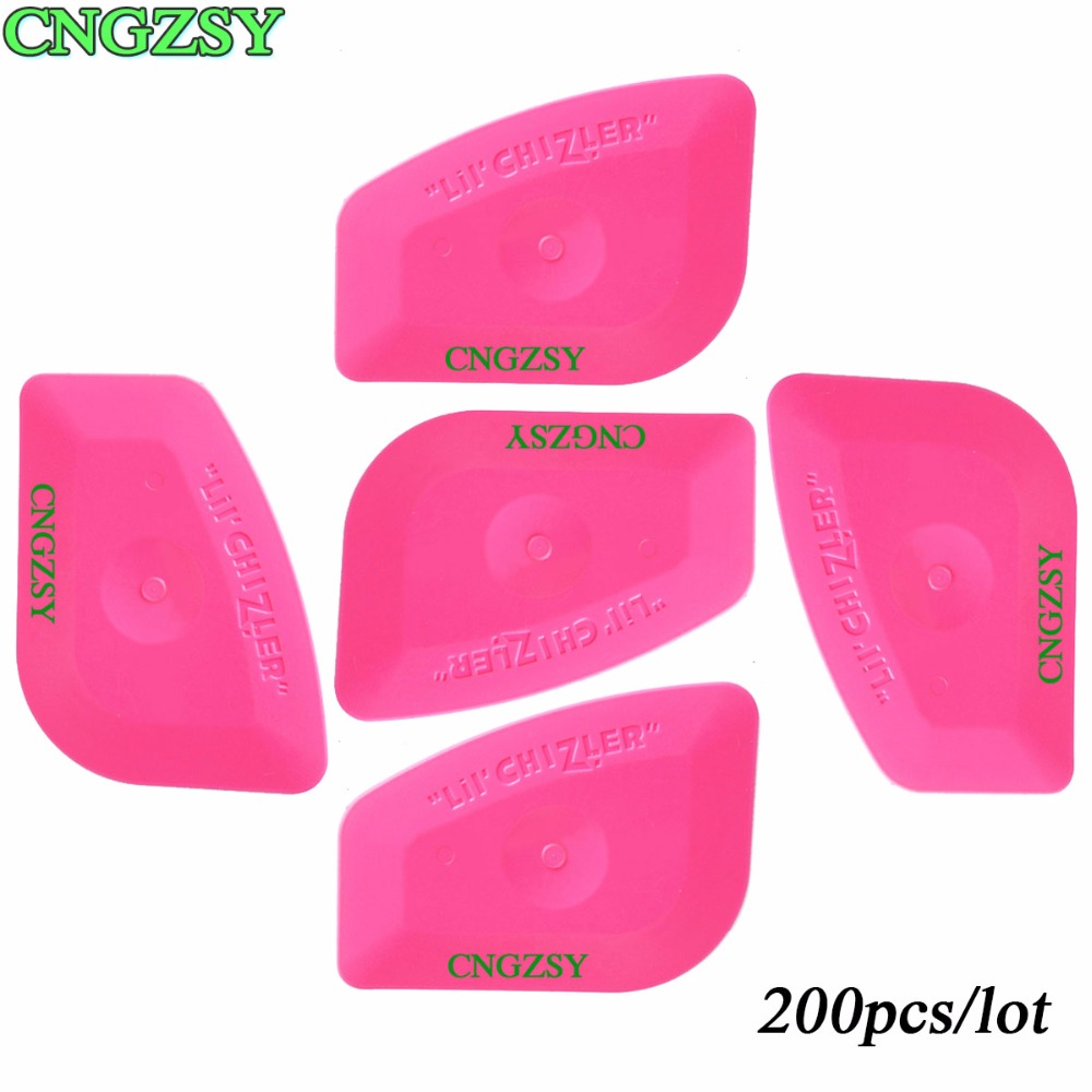 200pcs Mini Pink Plastic Squeegee Hard Card Car Cleaning Home Window Film Tint Wrapping Tool For Graphics Stickers Decals 200A25