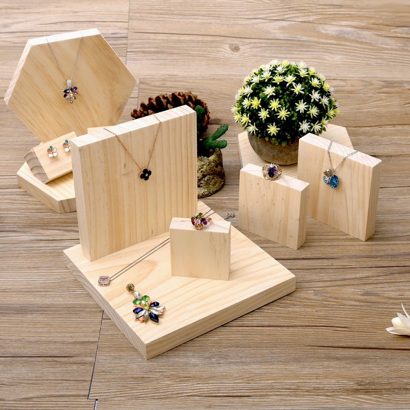 Aliexpress Com Lot Of 5 Square Shape Solid Wood Jewellery Display Block Nature Jewelry Holder From Reliable
