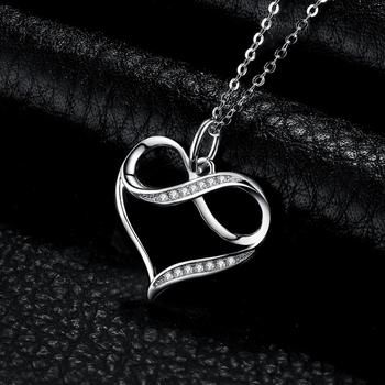 Infinity Love Heart Silver Pendant Necklace  Sterling Silver Statement Necklace  2