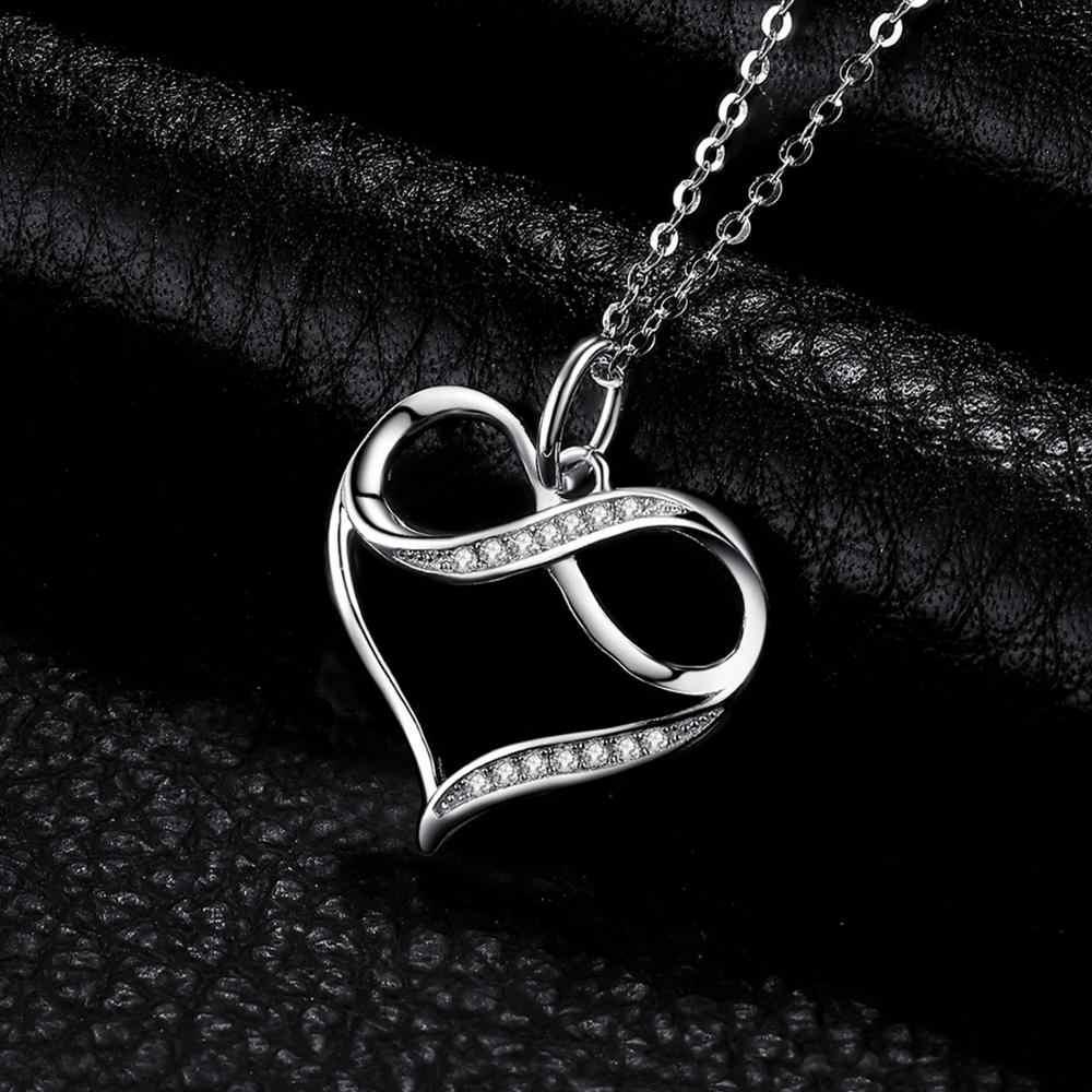 Infinity Love Heart สร้อยคอจี้เงิน 925 เงินสเตอร์ลิง Choker สร้อยคอผู้หญิงเงิน 925 เครื่องประดับ WithoutChain