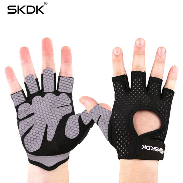 SKDK Crossfit Dumbbells Training Fitness Gym Gloves Super Fiber Breathable Body Building Weight Lifting Sports Workout Gloves