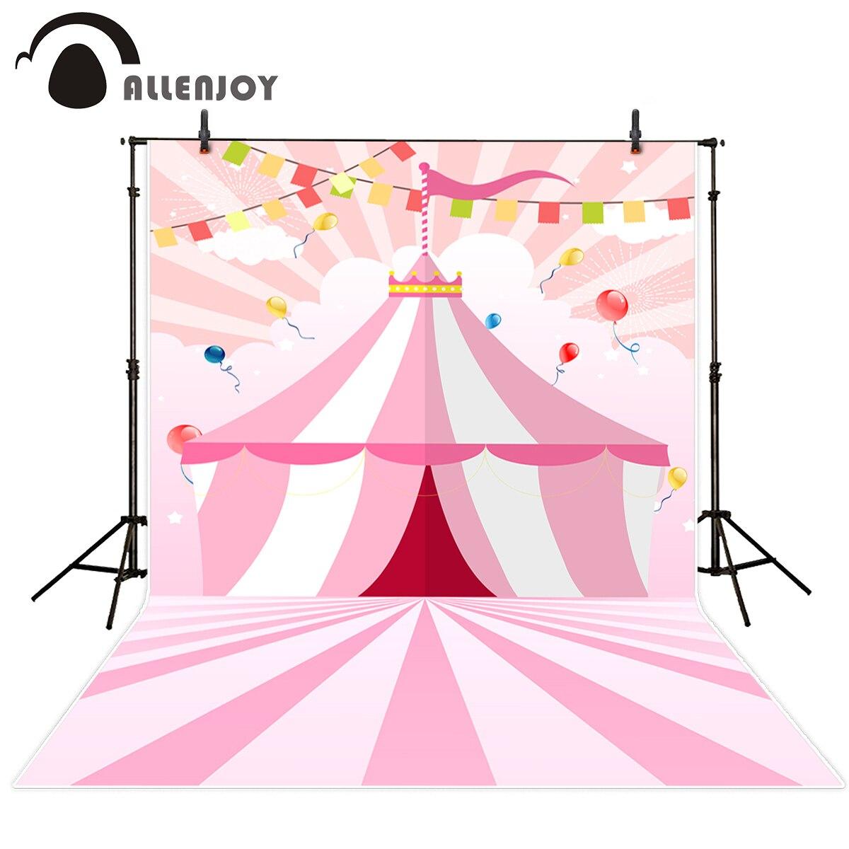Us 917 34 Di Scontoallenjoy Fotografia Sfondo Rosa A Righe Circo Banner Per Bambini Di Compleanno Nuovo Sfondo Photocall Personalizza Photo