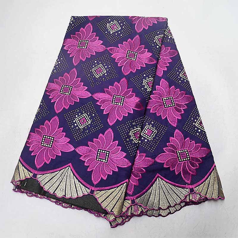 High Quality Stones Purple Swiss Voile Lace 2019 African Voile Swiss Lace Fabric African Cotton Voile