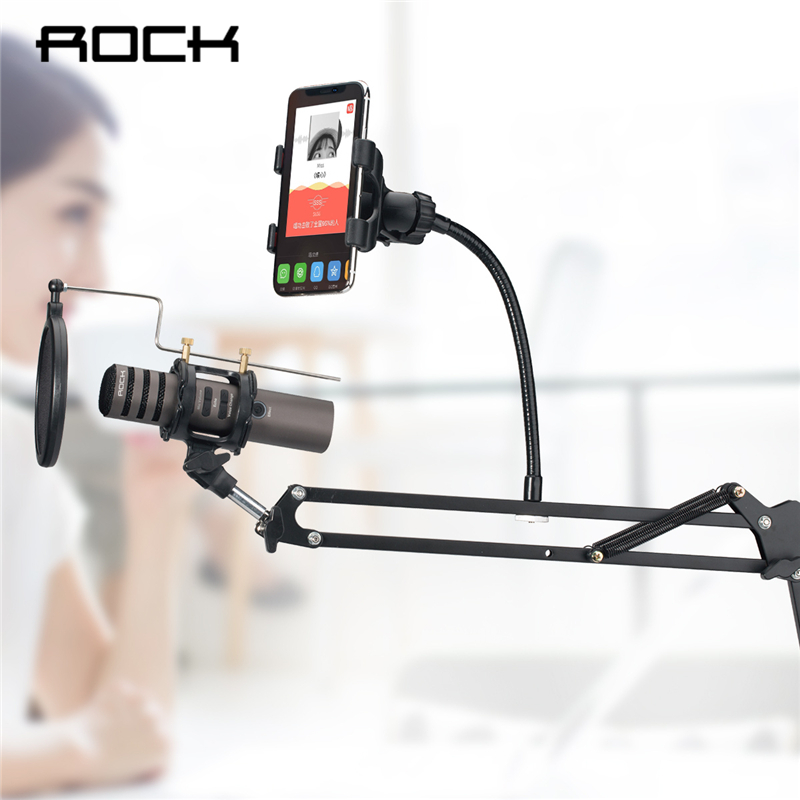 все цены на ROCK 2 in 1 Microphone & Phone Stand Holder Mount 360 Degree for 3-6 inch Smartphone Adjustable Recording Microphone Clip