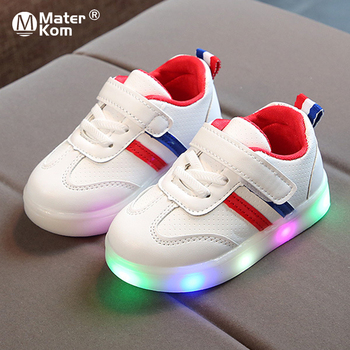 Размер 21-30 детская спортивная обувь с подсветкой для девочек и мальчиков, противоскользящие кроссовки для бега, дышащие кроссовки для малыш...