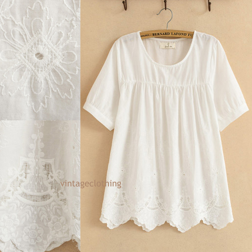 Vintage 70s ANGEL ALLOVER Cut-out Floral CROCHET Embroidery Mexican Party  mini Dress Cotton Top