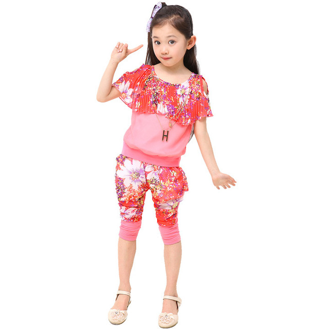 Kids 2017 Summer new cape sleeve knitted chiffon three-color set of fashion girls suit