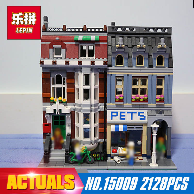 2128Pcs Lepin 15009 City Street Set Pet Shop Model Building Blocks action bricks baby lovely toy 10218 for Educational Gift lepin 15009 city street pet shop model building kid blocks bricks assembling toys compatible 10218 educational toy funny gift