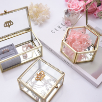 Golden Crown Glass Storage box Organizer Wedding Gift Box Glass Jewelry Crystal Gift Wedding Ring Box Holder