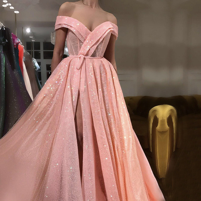 Pink Muslim   Evening     Dresses   2019 A-line Off The Shoulder Sequins Beaded Islamic Dubai Saudi Arabic Long Formal   Evening   Gown