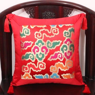 Кисточка пэчворк натуральные шелковые наволочки с рисунком шелковицы рождественские Чехлы Подушка, домашний декор диван стул китайский наволочка - Цвет: red cloud