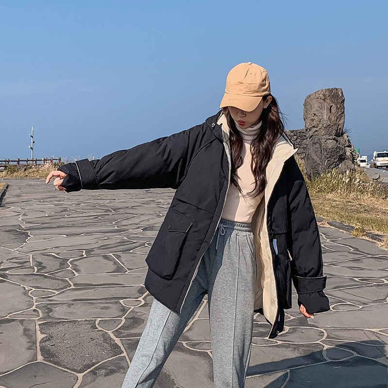 2019 Vrouwen Winter Korte Jas Mujer Hooded Parka Winter Jas Vrouwen Losse Parka Katoen Gevoerde Kleding Jassen N878