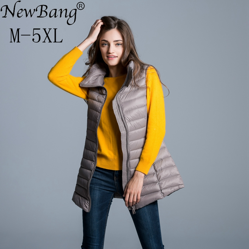 NewBang Brand 4XL 5XL Plus Women's Down Coat Vests Women's Long Vest Ultra Light Down Sleeveless Mandarin Collar Jacket