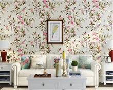 beibehang American country retro pastoral nonwoven flowers and birds bedroom 3d wallpaper hotel villa upscale large wall paper