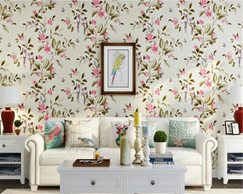 beibehang tapety elegant and fresh pastoral flower wall paper modern fashion bedroom living room backdrop nonwoven 3d wallpaper beibehang American country retro pastoral nonwoven flowers and birds bedroom 3d wallpaper hotel villa upscale large wall paper