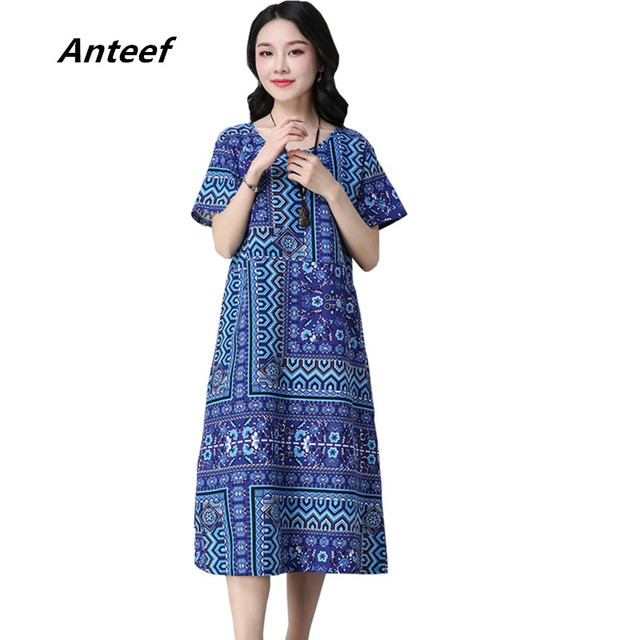 c26e725bfd4 new fashion cotton linen vintage print women casual loose long summer dress  vestidos femininos 2018 dresses