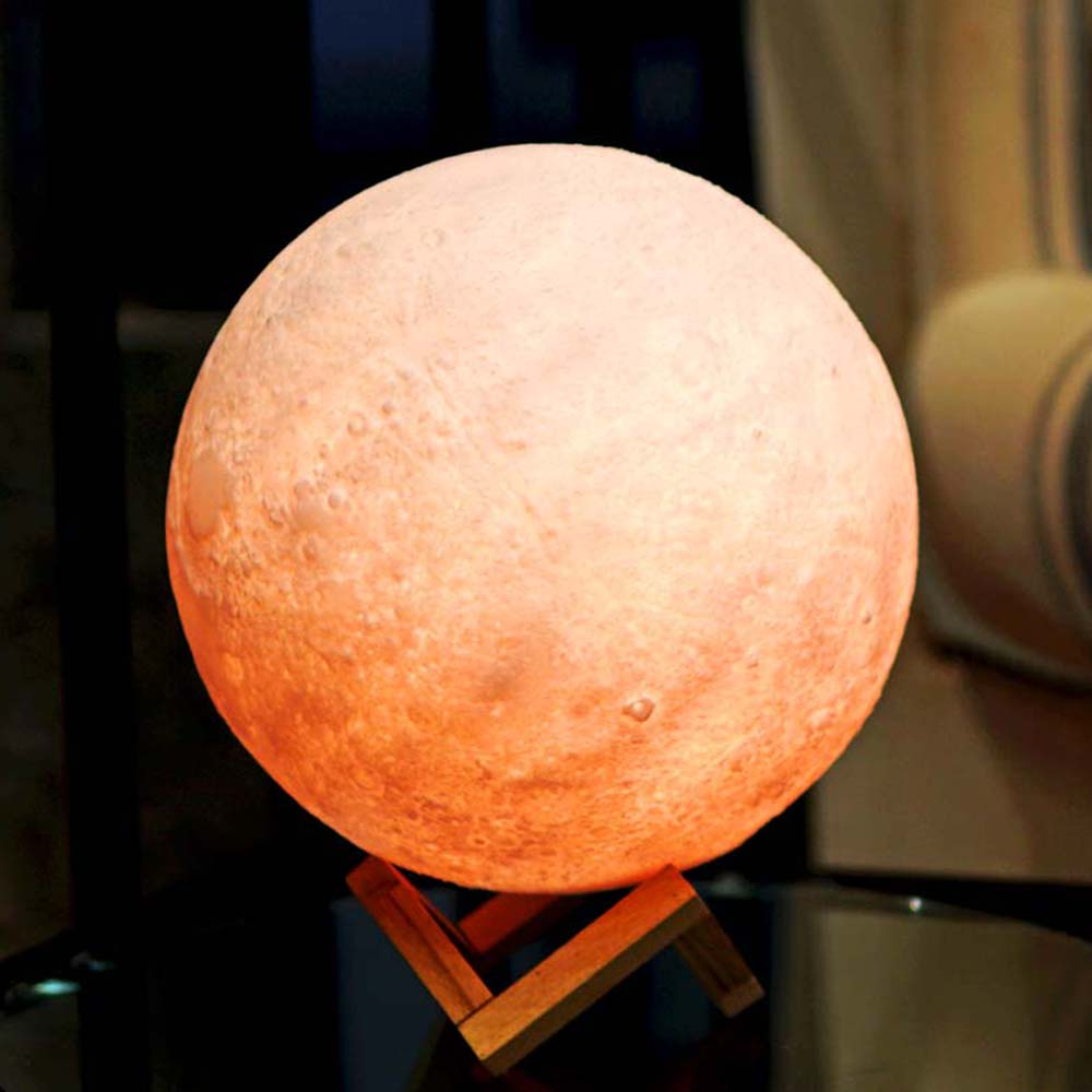 NEW Creative 3D Print Moon Lamp Light Night Lighting Luminaria USB LED Bulb Rechargeable Touch Remote Multicolor Christmas Gifts