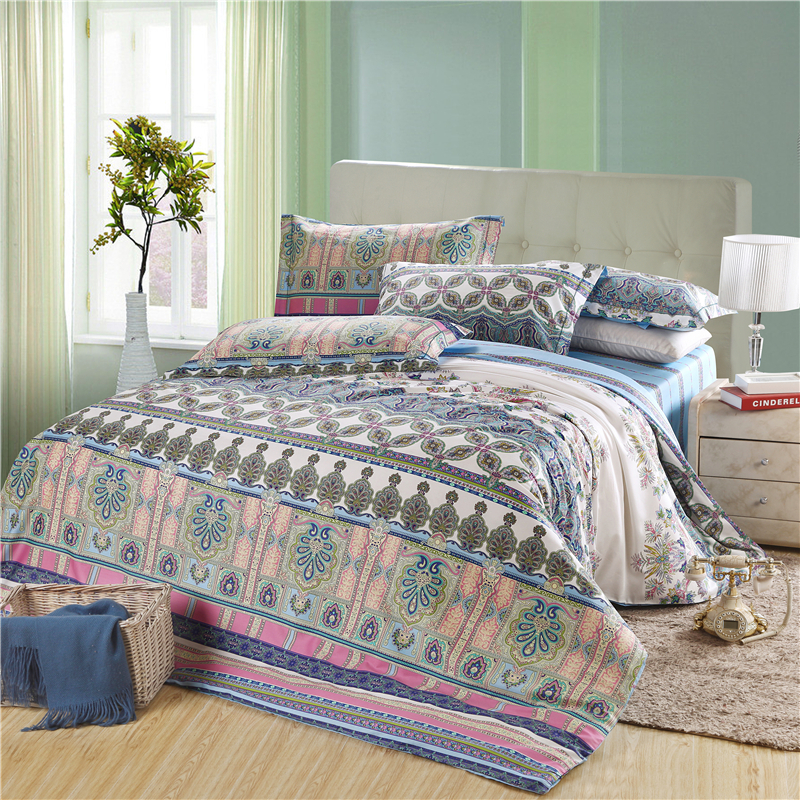 promotion american style exotic boho bedding set queen king size blue comforter cover set with. Black Bedroom Furniture Sets. Home Design Ideas
