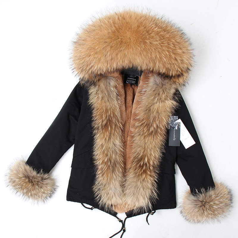Image 3 - abrigos mujer invierno 2018 mini True Fur Parka women winter  Hooded jacket coat Parkas faux fur coat Lining jacket long coatParkas