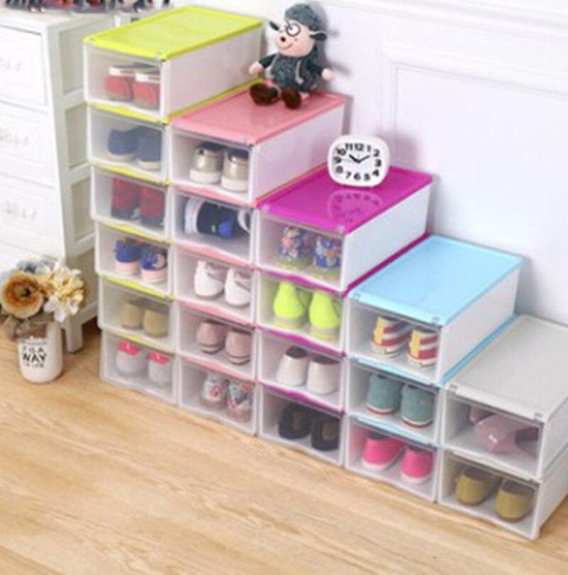 Thicky colored transparent plastic clamshell shoebox storage box drawer shoe boots organizing - Almacenaje zapatos ...